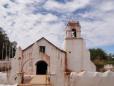Igreja central em San Pedro de Atacama em obras.