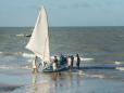 Jangada na praia de Maracajaú